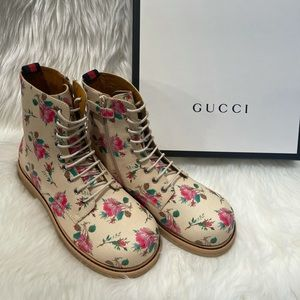 Gucci Children's rose Supreme lace-up boots